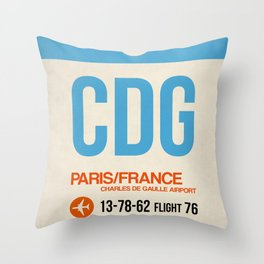 CDG Paris Luggage Tag 2 Throw Pillow
