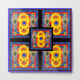 BLUE PEACOCK JEWELED SUNFLOWERS DECO ABSTRACT Metal Print