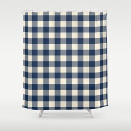 Buffalo Plaid Rustic Lumberjack Blue and White Check Pattern Shower Curtain