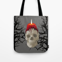 Halloween Skull with candle and trees Tote Bag