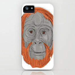 Unflanged Male Orangutan Drawing iPhone Case