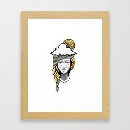 Girl with sun in the head Framed Art Print