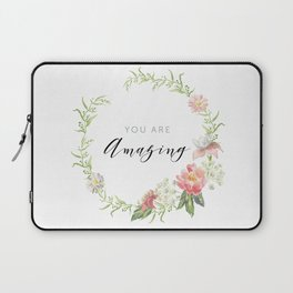 Wreath You are Amazing. Pink flowers Laptop Sleeve