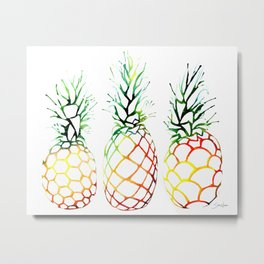 Retro Pineapples Metal Print