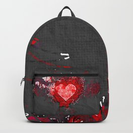 Abstract Love Letter red Grey Crumpled Paper Backpack