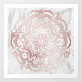 Rose Gold Mandala Star Art Print