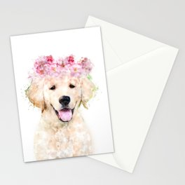 Watercolor Labrador with flowers,  happy puppy, nursery decor, Dog Painting Stationery Cards