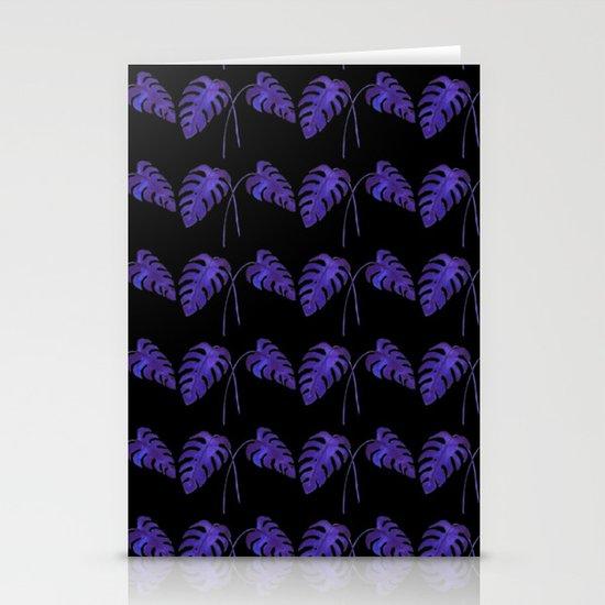 Indigo Monstera Leaf Watercolor on Black Stationery Cards