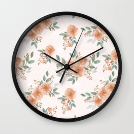Pink Flowers with Berries Pattern Wall Clock