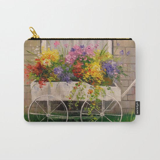Old wagon with flowers Carry-All Pouch