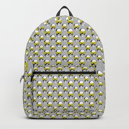 Skulls and Roses Pattern | Skulls and Flowers Pattern | Vintage Skulls | Grey and Yellow | Backpack