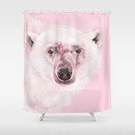 Polar Bear in Pink Shower Curtain