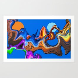 Space Fantasy 2 Blue Art Print