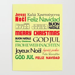 merry christmas in different languages I Poster