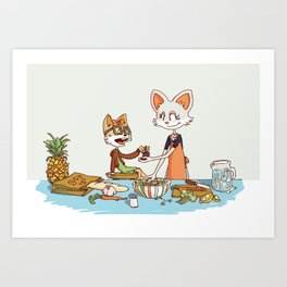 Mother and Daughter Fox Cooking Together Art Print