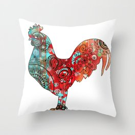 Stern Rooster Throw Pillow