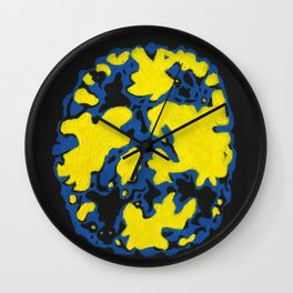 Blue and Yellow Brain Scan Wall Clock
