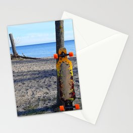 Longboard On The Sand Against Lake Ontario Stationery Cards