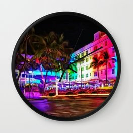 Clevelander Hotel Neon Lights, South Beach Miami Landscape Painting by Jeanpaul Ferro Wall Clock