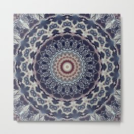 Grey blue ornament, mandala Metal Print