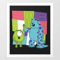 monster inc Art Prints featuring Monster Time by Moysche Designs