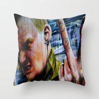 rebel Throw Pillows featuring Rebel by Global Graphiti