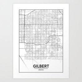 Minimal City Maps - Map Of Gilbert, Arizona, United States Art Print