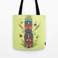tiki Tote Bags featuring Tiki totem by Binnyboo