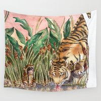 tigers Wall Tapestries featuring Thirsty Tigers by Judith Chamizo