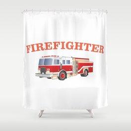 Firefighter Fire Truck Shower Curtain