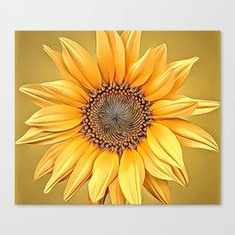 Macro Sunflower Airbrush Artwork Canvas Print