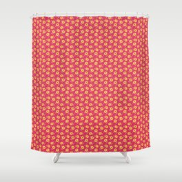 Autumn floral - yellow flowers on red Shower Curtain