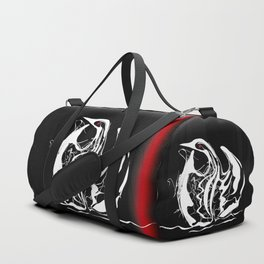 Swan 1. White on Black background-(Red eyes series) Duffle Bag