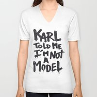 karl V-neck T-shirts featuring Karl told me... by Ludovic Jacqz