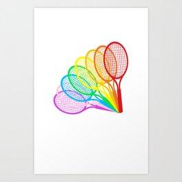 Creative Rainbow Tennis Rackets Art Print