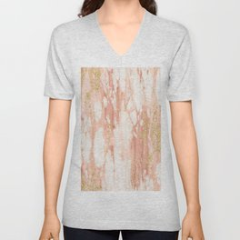 Rose Gold Marble - Rose Gold Yellow Gold Shimmery Metallic Marble Unisex V-Neck