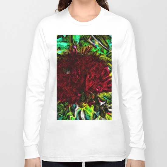 Red Flower in the Shadows and Bright Green Leaves Long Sleeve T-shirt
