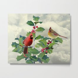 Cardinals on Tree Top Metal Print