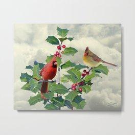 Cardinals on Tree Top Metal Print