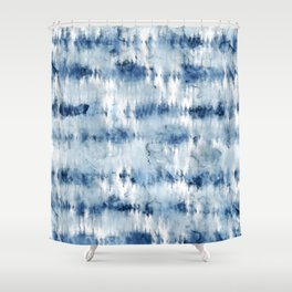 Modern hand painted dark blue tie dye batik watercolor Shower Curtain
