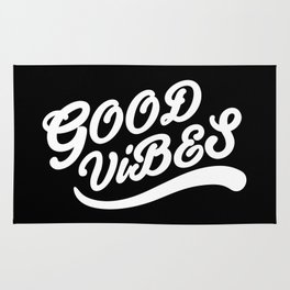 Good Vibes Happy Uplifting Design Black And White Rug