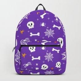 Happy halloween pattern with bones, webs, skulls and spiders Backpack