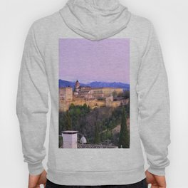 La Alhambra, Sierra Nevada and Granada. At pink sunset Hoody