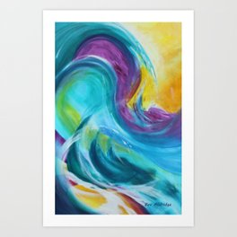 Colourful Abstract Waves Art Print