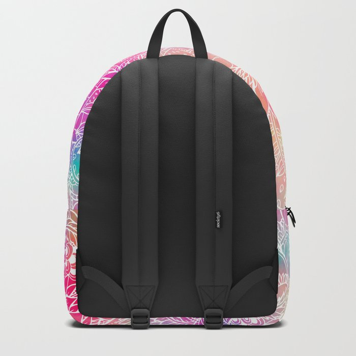 Bright neon pink turquoise purple yellow watercolor white floral illustration pattern Backpack