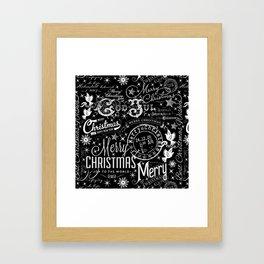 Black and White Christmas Typography Design Framed Art Print