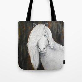 White Shetland Pony Painting Tote Bag