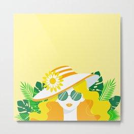 Sunshine Locks on Yellow - Kitschy Summer Glamour Girl Metal Print