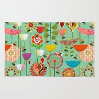 bees Area & Throw Rugs featuring WHERE THE BEES FLY by Chicca Besso