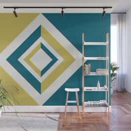 Tropical Dark Teal Inspired by Sherwin Williams 2020 Trending Color Oceanside SW6496 Dark Yellow and Off White Geometric Shapes Diamond Minimal Illustration 4 Wall Mural